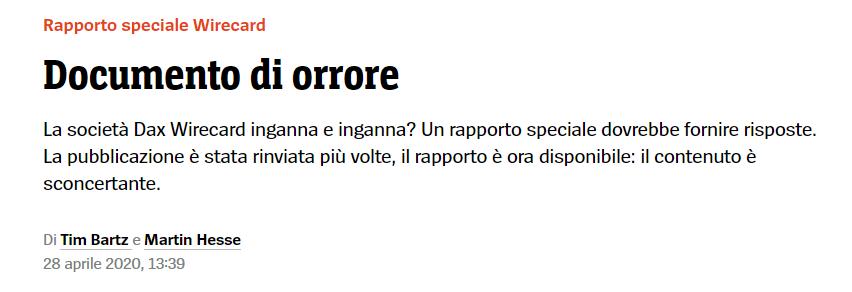 """Wirecard – Federcontribuenti: """"anomalie criminali su Wirecard dallo scorso ottobre""""  Dopo Wirecard 26 milioni di consumatori italiani temono di perdere i propri soldi."""